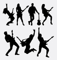 Guitarist male and female silhouette vector image