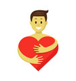 happy man in love hugging red heart romantic vector image vector image