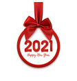 happy new year 2021 round abstract banner with red vector image vector image