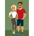 Hipster guy and his blond pretty girlfriend vector image