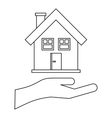House and palm icon outline style vector image vector image
