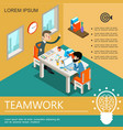 isometric business teamwork colorful template vector image vector image