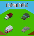 isometric transport set of first-aid auto vector image vector image