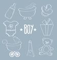 Linear baby boy items set vector image