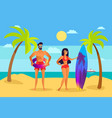 man and woman on beach with surfboard and ring vector image vector image