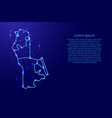map macau from the contours network blue luminous vector image
