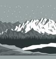 monochrome scene landscape background of far snowy vector image vector image