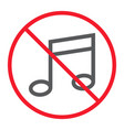 no music line icon prohibition and forbidden vector image vector image