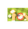 pancakes cooking color vector image vector image