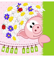 pig with flowers love vector image