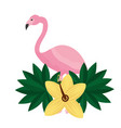pink flamingo flower hibiscus tropical summer vector image vector image