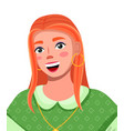 portrait young woman with red long hair wearing vector image
