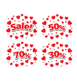 Sale sign over red hearts background vector image vector image