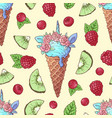 seamless pattern ice cream kiwi raspberry cherry vector image vector image