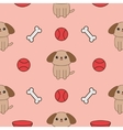 Seamless Pattern with dog bone plate ball toy vector image