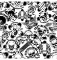 seamless pattern with skateboard emblems vector image