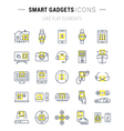 Set Flat Line Icons Smart Device vector image