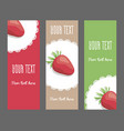 set of vertical narrow banners with strawberries vector image vector image