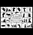 set silhouettes christmas nativity christian vector image vector image