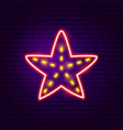 starfish neon label vector image