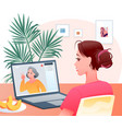 video call cartoon happy woman character making vector image vector image