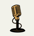 vintage microphone icon isolated on white vector image vector image
