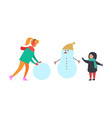 winter holidays and fun family playing vector image vector image