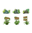 wooden signboards and rock stones set tropical vector image