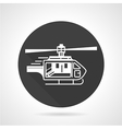 Helicopter black round icon vector image