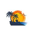 beach logo template vector image vector image