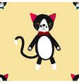 Black Cat with Ribbon Full Body on Yellow vector image vector image