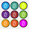 businessman icon sign Nine multi colored round vector image