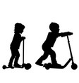 children silhouettes learn to ride scooter vector image vector image