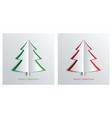 christmas tree in paper art style with green vector image
