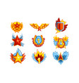 collection of colorful medals in various shapes vector image