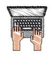 color crayon stripe cartoon top view hands typing vector image vector image
