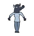 comic cartoon werewolf woman vector image