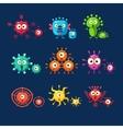 Cute Germ Set Bacteria Virus Microbe Pathogen vector image