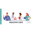 doctor characters in medical robe in row landing vector image