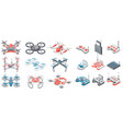 drone with remote control quadcopter collection vector image vector image