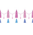 fun pink decorative long tassels set vector image vector image