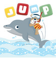Funny diver cartoon ride on cute dolphin