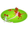 Funny knight and big gift for Valentine day vector image vector image