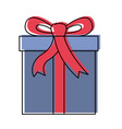 gift box icon with decorative ribbon in watercolor vector image vector image