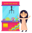 girl playing pink retro claw machine image vector image