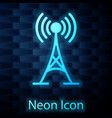 glowing neon antenna icon isolated on brick wall vector image vector image