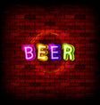 glowing neon beer pub signboard vector image