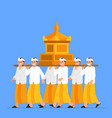 group balinese boys carry sacred object on vector image vector image