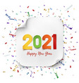 happy new year 2021 colorful paper abdtract vector image vector image