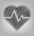 heartbeat sign pencil sketch vector image vector image